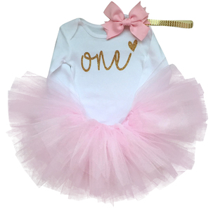 Toddler Girl Baby First 1st Birthday Outfits Dress Infant Party Tutu Fluffy Kids Winter Clothes Girl 1 Year Princess Pink Dress(China)