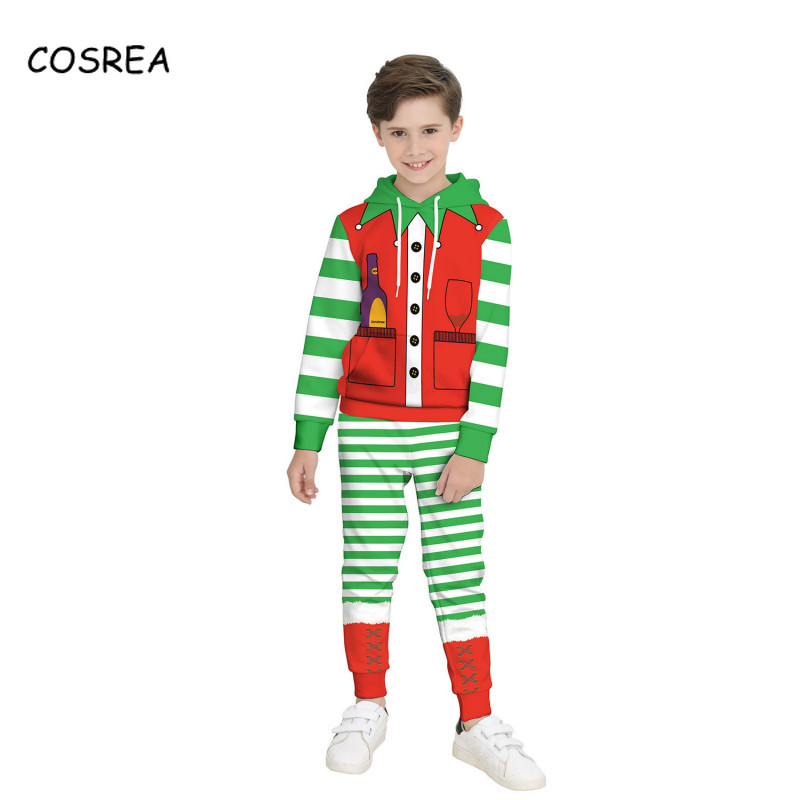 Xmas Santa Claus Cosplay Costume Christmas Hooded Kids child Children's Clothing Elf  Wear Suit Cartoon 3D Top Pant Long sleeve