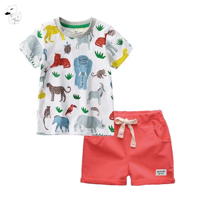 639a8360db82 BINIDUCKLING Children Sets Boy Cartoon T-shirts Shorts Summer Children Clothing  Set Cotton Kids Outfits