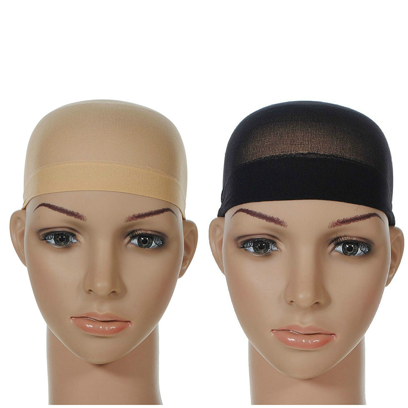 2 Pcs Wig Cap Breathable Stretchable Nylon Stretch Stocking Cap Nude Beige Black Hairnets