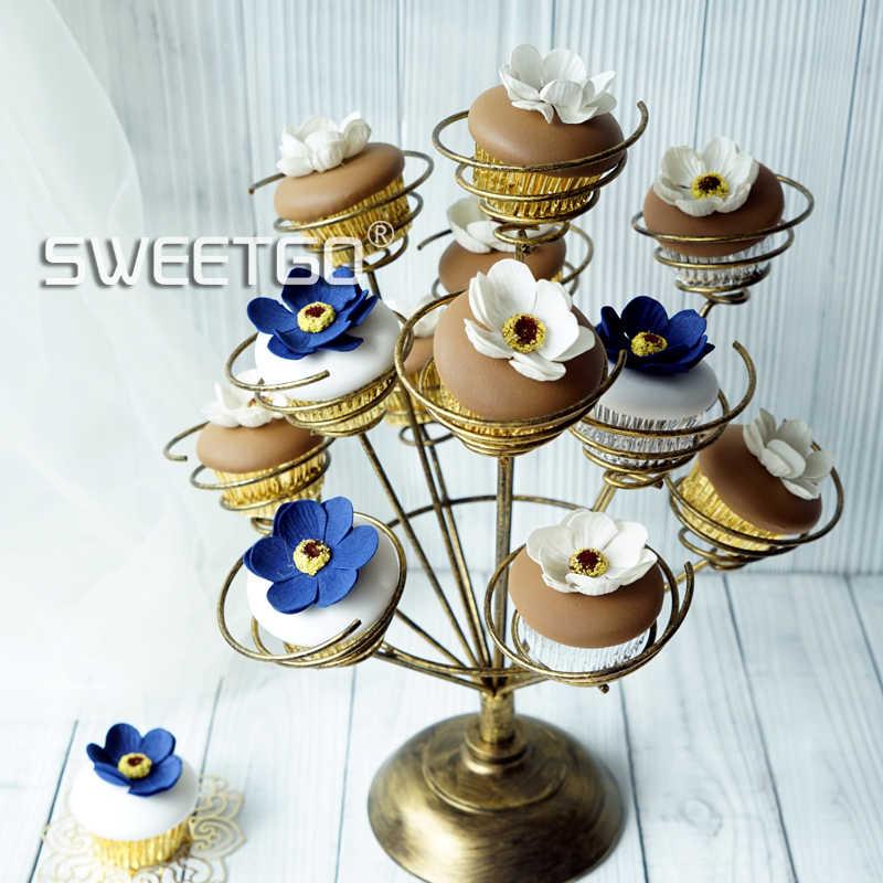 Cupcake stand porta rotolo per la festa di nozze bouquet forma bianco/rosa/nero oro torta strumenti di visualizzazione decorazione della tavola