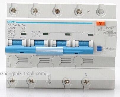 Disjoncteurs de ménage de puissance élevée de disjoncteur de CHNT DZ158LE-100 avec le commutateur d'air de fuite