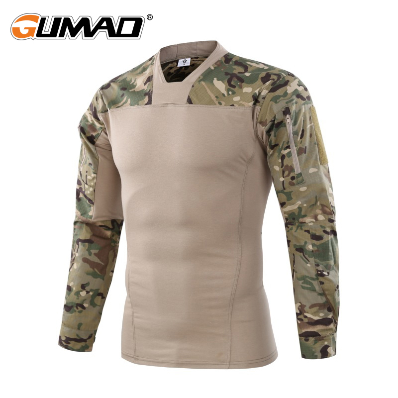 все цены на Camouflage Military Tactical Combat T-Shirt Men Force Multicam Camo Army Long Sleeve Shirt Hiking Climbing Shooting Uniforms