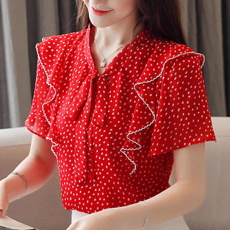 النساء الحلو بلوزة و أعلى 2019 الصيف النساء الشيفون قصيرة قمصان V الرقبة القوس عقدة أناقة و الطازجة المرأة بلايز 3985 50