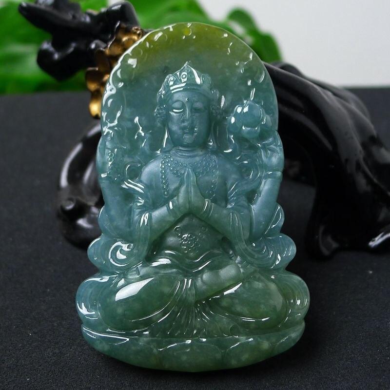 TJP offre spéciale naturel jade bleu déesse de la miséricorde pendentif magnifiquement sculpté collier sculpté à la main Jade pendentif