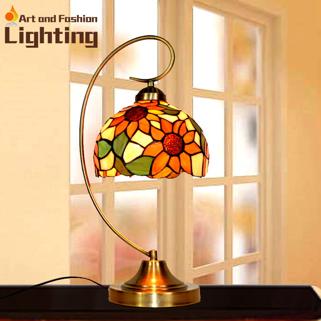 Lamparas Color Glass Led Table Lamp Hand Made Tiffany Desk: Lotus Tiffany Table Lamp For Bedroom Colorful Glass