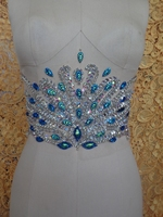 Pure hand made clear AB colour/Peacock blue sew on Rhinestones applique crystals patches 32*17cm dress accessory