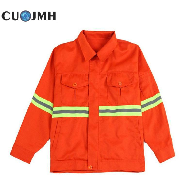 Orange Full-process Fabric Long Sleeve For Men And Women Reflective Stripe Overalls Sanitation Green Garden Cleaning Clothes slimming trendy lapel vertical stripe long sleeve polyester blazer for men