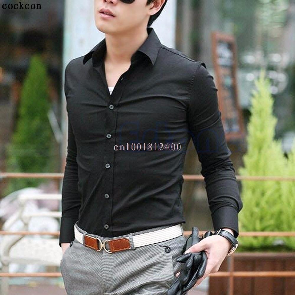 1 Stück Mens Shirts Baumwolle Slim Fit Stilvolle Beiläufige Kleid T-shirts Tops 10 Farben 4 Größe L 2019 Offiziell