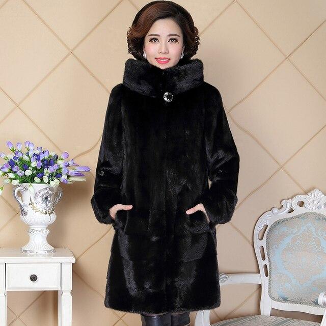 7ab7eaae57 US $1059.0 40% di SCONTO|Nerazzurri Con Cappuccio Reale del Visone Cappotto  di Pelliccia Per Le Donne China Lungo Nero Plus Size Naturale Visone ...