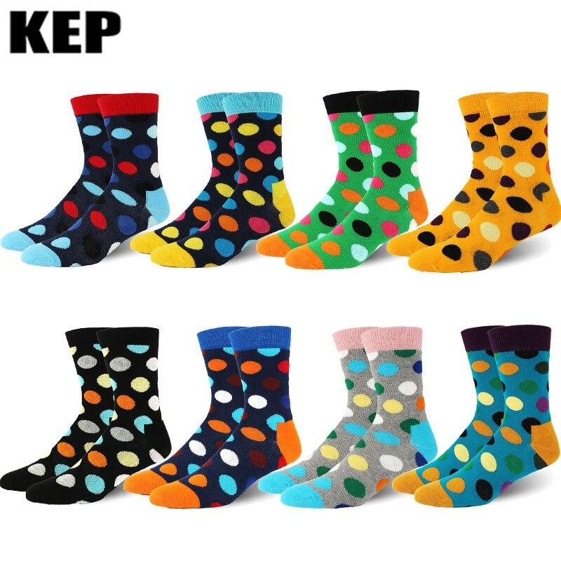 Fashion Trend Combed Cotton Brand Men Socks Cool Skateboard Hip Hop Dots Pattern Colorful Dress Socks Casual Business Socks Men
