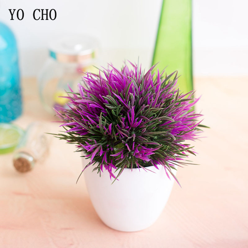 YO CHO Artificial Plant Potted Set 32-Headed Phoenix Grass Ball Simulation Plant Flower Ball Fake Flower Home Wedding Decoration