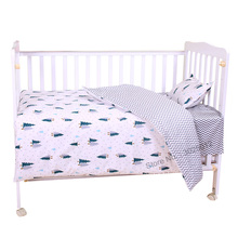 3 pcs 아기 침구 세트 만화 면화 아기 어린이 침대 세트 베개 커버 플랫 시트 이불 커버 충전없이 포함