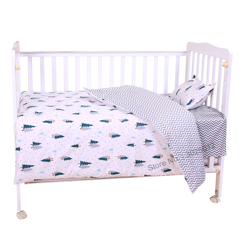 3Pcs Baby Bedding Set Cartoon Cotton Baby Crib Sets Baby Cot Set Including Pillowcase Flat Sheet  Duvet Cover Without Filling-in Bedding Sets from Mother & Kids
