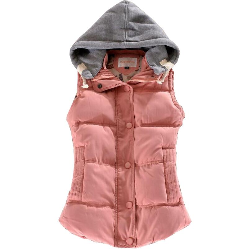 2017 new Autumn Winter Fashion Cotton Vest Women Patchwork Hooded Sleeveless Casual Waistcoat Coat YI LA Collection a511