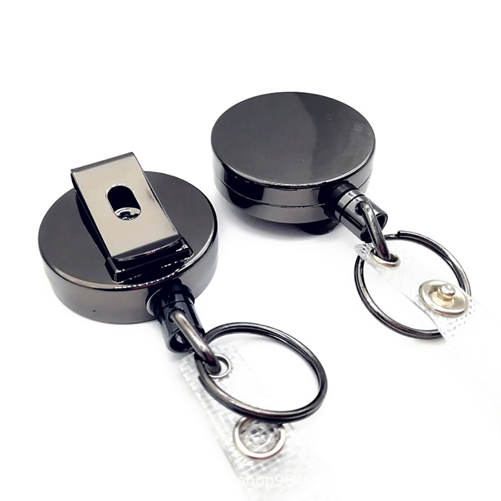 2PCS ID Name Card Office Pull Metal Clip Keychain Key Ring Belt Lanyard Badge Holder Reel Heavy Duty Recoil Retractable