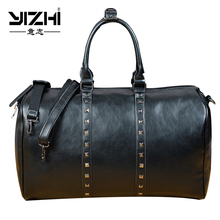 YIZHI New 2018 Business Men's Briefcase Metal Element High Quality PU Leather Large Capacity Shoulder Bag Computer Bag