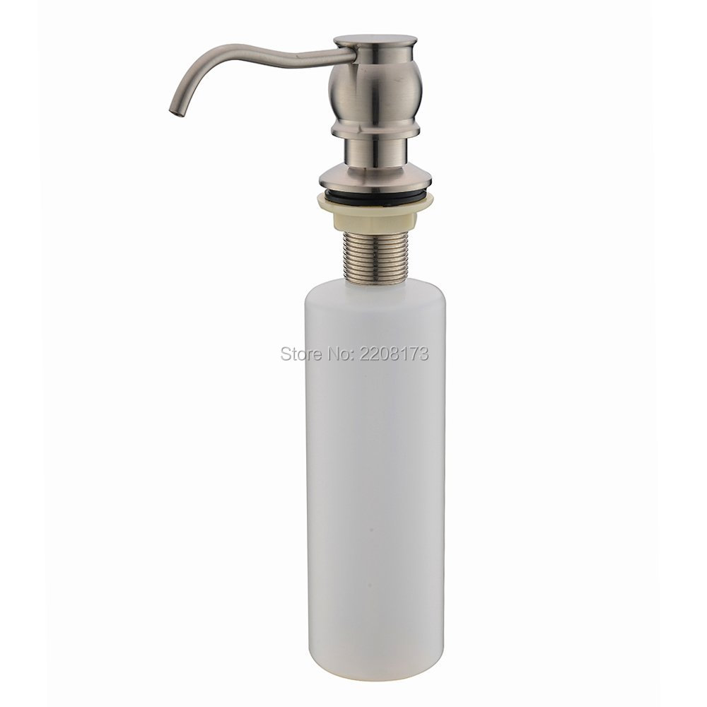 Free Shipping Classic Style Solid Brass Brushed Nickle Kitchen Sink Countertop Liquid Dish Hand Soap Dispenser Pump Replacement