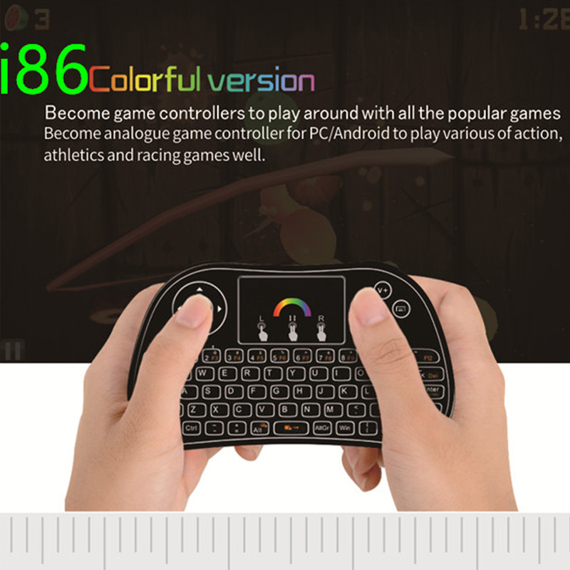 i86 Backlight Air Mouse Colorful  Wireless Mini Keyboard Remote Control for PC Android TV Box Portable mini keyboard keypad i86 seenda 2 4g wireless keyboard mouse set office large numeric keypad waterproof multimedia function keypad energy saving comfort