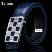 Retail Fashion Business Solid Crocodile Grain Genuine Leather Men Belt Designer Belts Men High Quality Ceinture