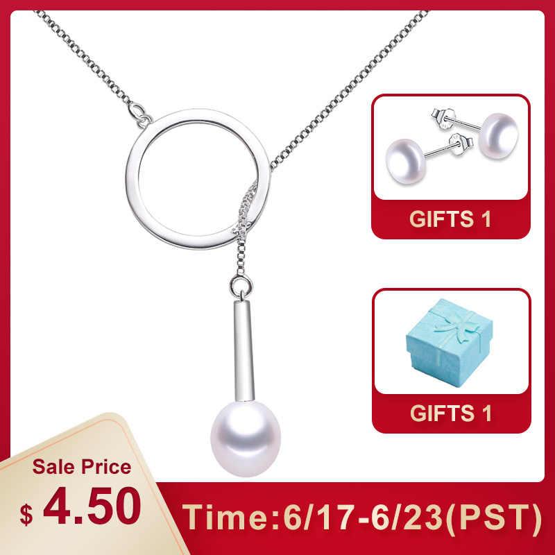 Lindo 100% натуральные подвески с пресноводным жемчугом ожерелье s для женщин модное серебро 925 длинное ожерелье распродажа ювелирных изделий свадьбы