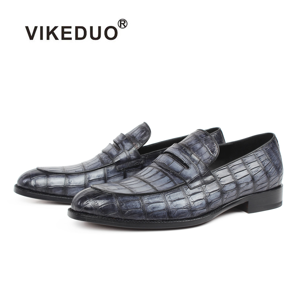 8df35c158ce17 Vikeduo 2019 Summer Fashion Men Loafers Shoes Plaid Crocodile Leather Shoe  Male Casual Vintage Gray Wedding Party Office Sapatos