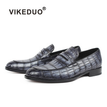 Vikeduo 2019 Summer Fashion Men Loafers Shoes Plaid Crocodile Leather Shoe Male Casual Vintage Gray Wedding Party Office Sapatos