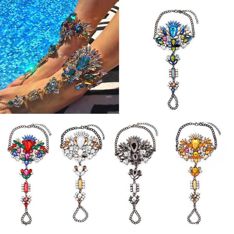 ... Boho Crystal Anklet Australia Beach Vacation Ankle Bracelet Sandals  Sexy Leg Chain Female Statement Asteria Lyra 7b12286699eb