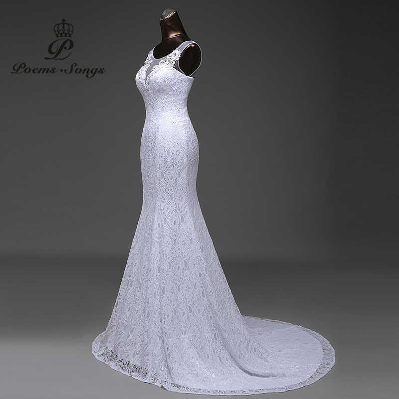 Venda quente frete grátis elegante bonito laço flores sereia vestidos de casamento vestidos de noiva robe de mariage vestido de noiva