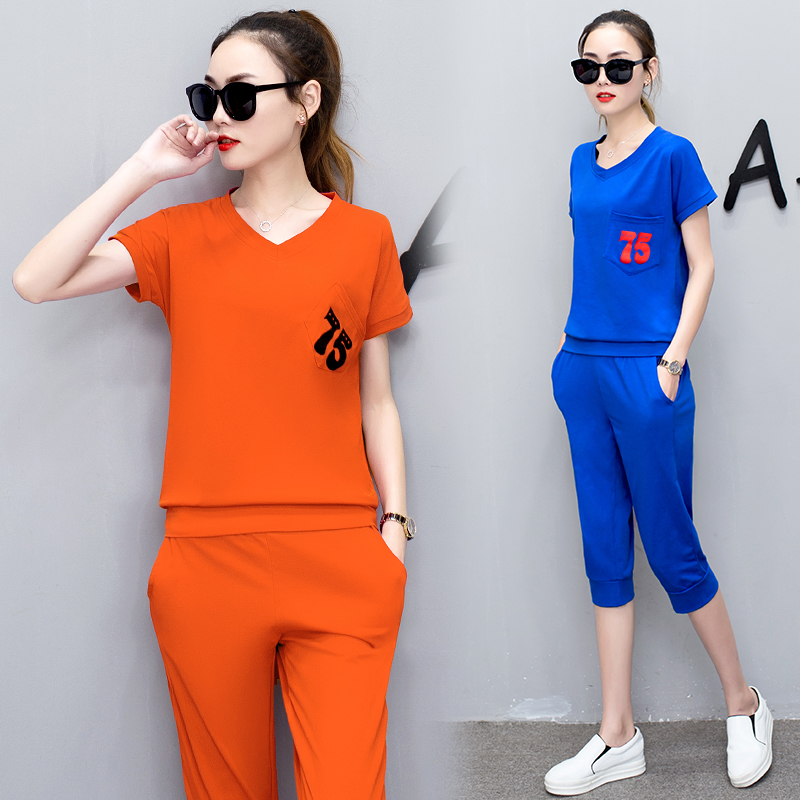 SusanDick 2017 New Summer Two Piece Outfits Women Korean Casual Sportswear T Shirt Pant Suits ...