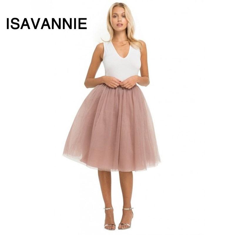 Puffy 7 Layers Tulle Skirt Hidden Zipper Summer Style High Waisted Midi Skirts Womens 2016 Pleated