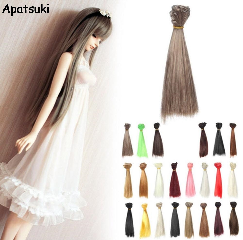 15*100cm DIY Doll Wigs Hair For Barbie Doll For BJD/SD Doll Hair DIY High-temperature Wire Multi-colors Straight Hair Wigs 1 8 bjd sd doll wigs for lati dolls 15cm high temperature wire long curly synthetic hair for dolls accessorries high quality wig