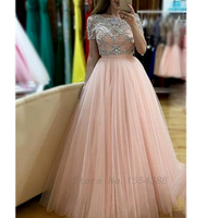 Real Photos Crystal Beading Backless Short Sleeves Ball Gown Robe De Soiree Pink White Colors Tulle