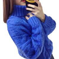 New Womens Turtleneck Tops 2018 Autumn Winter Women Sweaters Loose Pullovers Long Sleeves Female Tricot Jumper Pull Femme F122