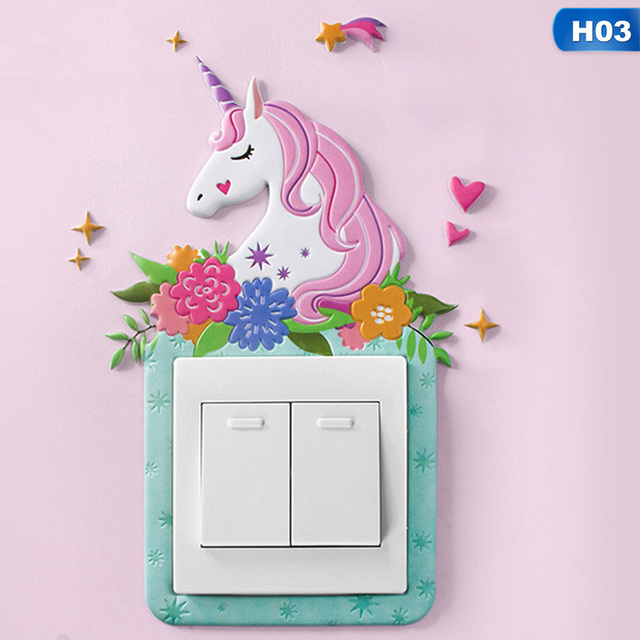 Animal Unicorn Flamingo Cover Cartoon Room Decor 3D Wall Silicone On-off Switch Luminous Light Switch Outlet Wall Sticker