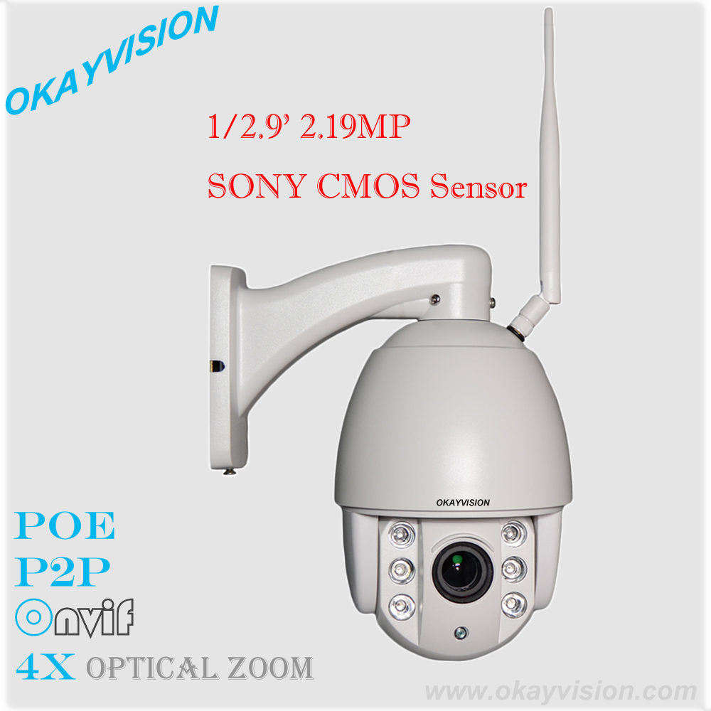 Wholesale free Shipping 1080P SONY sensor P2P Onvif Network PTZ Camera hd Wireless WIFI PTZ Camera with 32GB TF Card Included free shipping 4k hd wifi sports action camera 2 0 lcd 16mp extra 2 batteries 32gb tf card