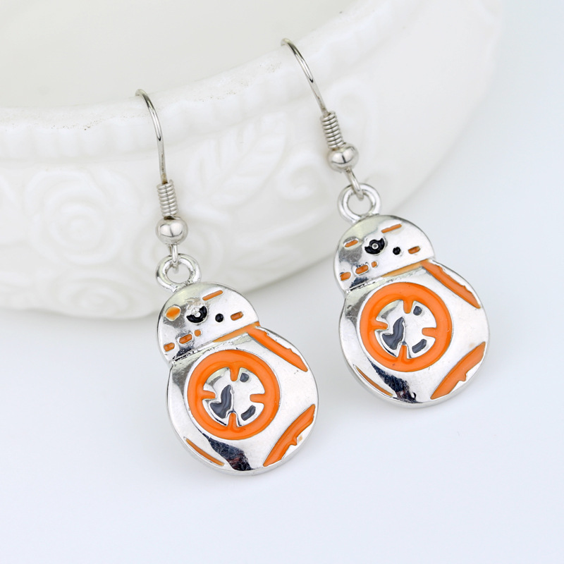 RJ Hot Sale Movie Star Wars 3D Robot BB8 Charm Stud Earrings Aircraft Doctor Who Earring For Women Girl Cosplay Jewelry