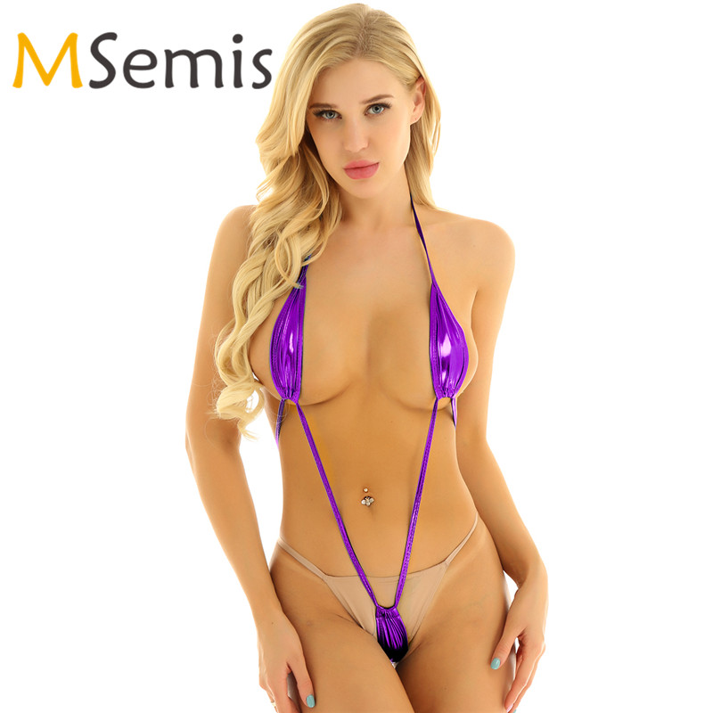 Bikini Micro Lingerie Swimsuit Beachwear Thong Slingshot G-String Mini Backless One-Piece