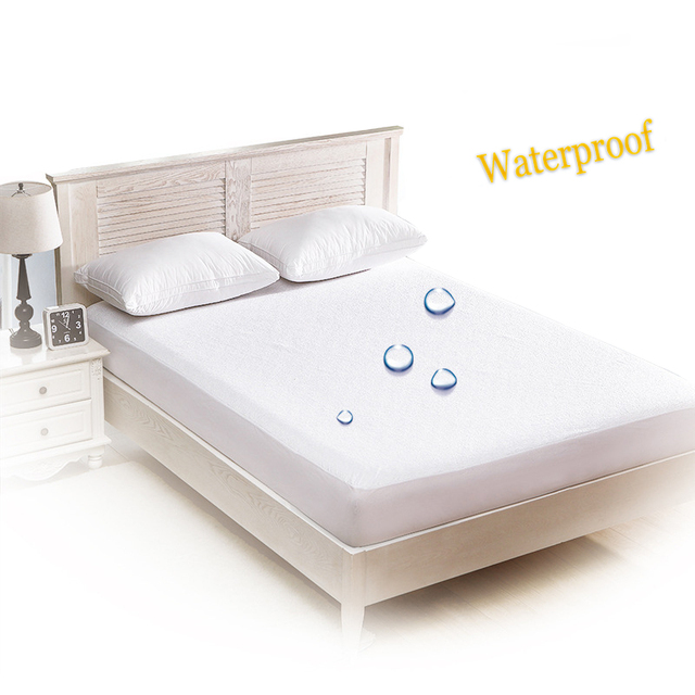 White Bed Mattress Cover Waterproof Mattress Protector Pad Fitted
