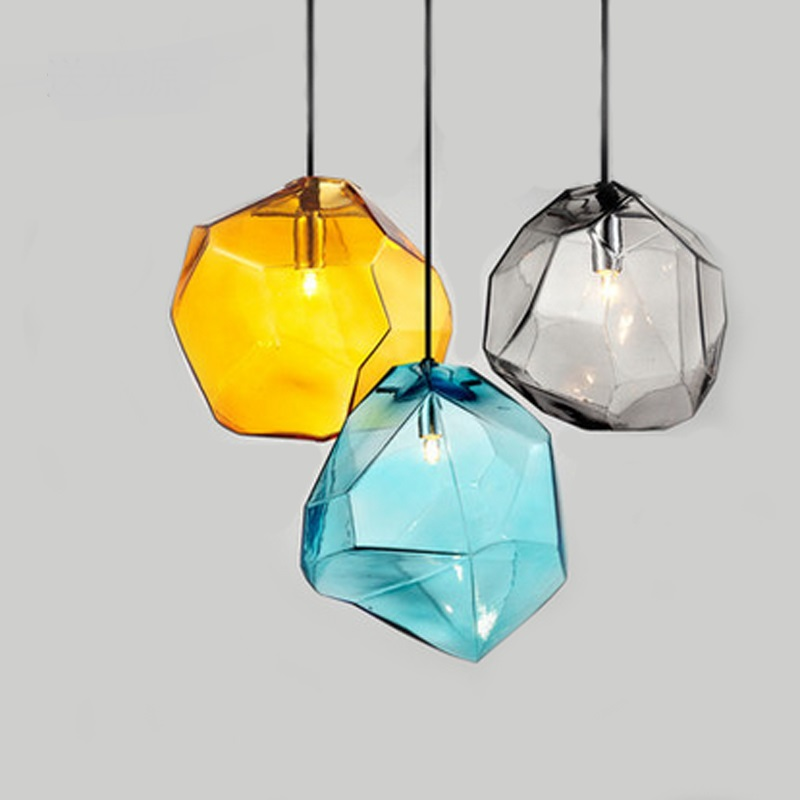 Party dining room lights  glass colorful LED pendant lights creative restaurant living room LED glass pendant lamps ZA10 fumat stained glass pendant lamps european style glass lamp for living room dining room baroque glass art pendant lights led