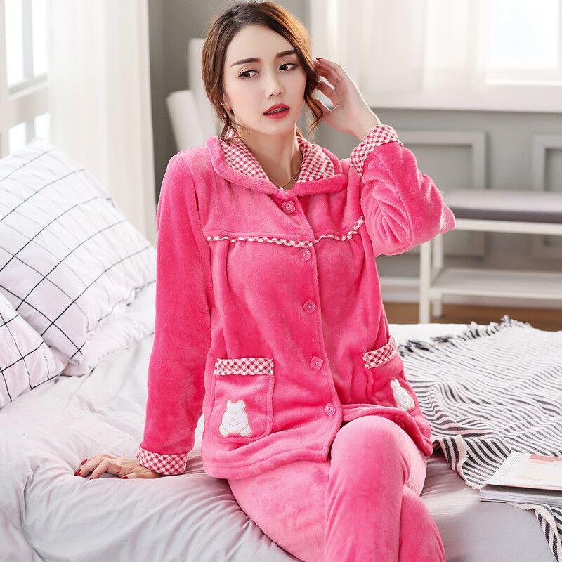 Autumn Sexy   Pajamas     Set   Plush Warm Winter Thick Mom Thick Pyjamas Flannel Home Spring Cartoon Student Home Sleepwear