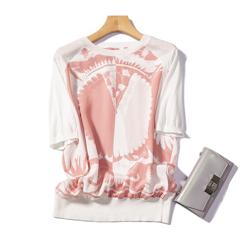 ブラウス女性ティーシャツ 100% シルクにシンプルな V ネック 2 色半袖ルーズトップ新ファッション 2019  グループ上の レディース衣服 からの ブラウス & シャツ の中 2