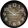 Grão de Madeira Relógio de Parede de Metal de 12/14 Polegadas Estilo Europeu Criativo Rodada Modern Home Quarto Relógio-Preto