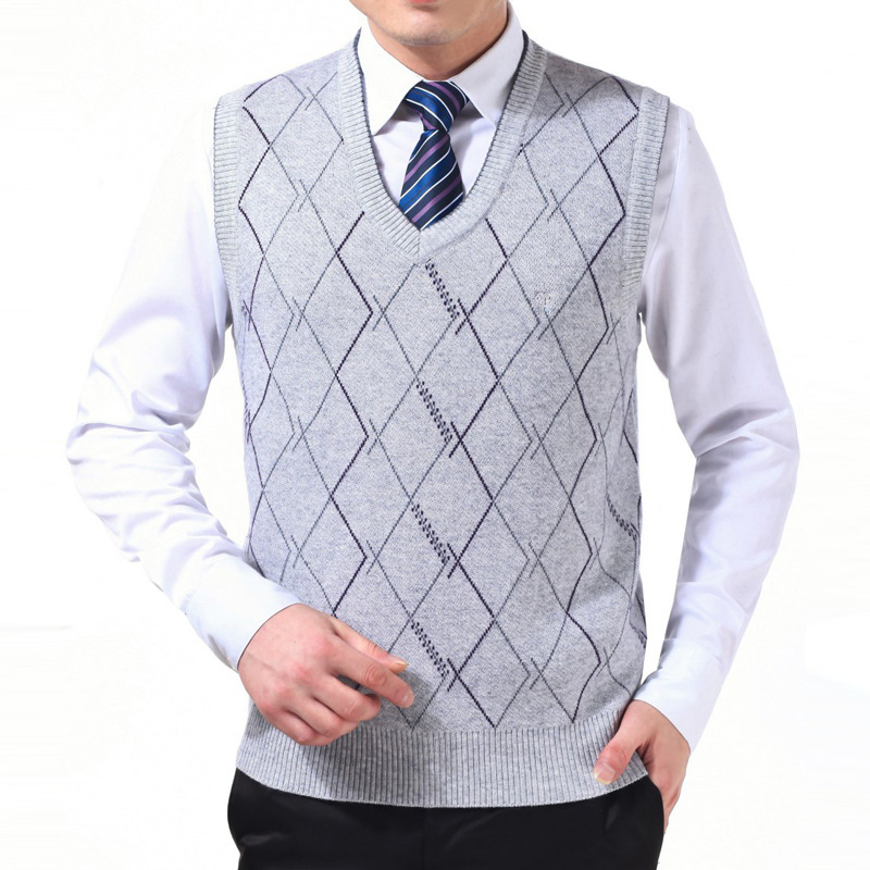Men sweater sleeveless pullovers vest sweaters white Checked wool ...