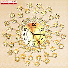 Geekcook Big Flower Wall Clock Modern Design Home Decor Living Room Mute Wall Watch Bedroom Clocks Wall Art Watches