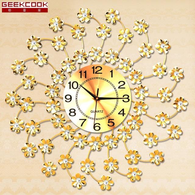 Geekcook Big Flower Wall Clock Modern Design Home Decor Living Room ...