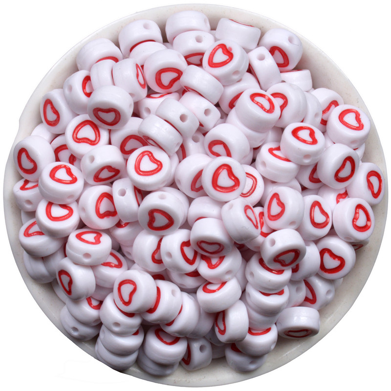100 x 7mm Black Red Pink Love Heart Flat Round Letter Bead Dummy Clip Making