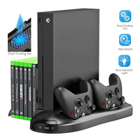 5 in 1 Vertical Stand for Xbox One X Cooling Fan with Controller Charger Charging Station Game Discs Storage and 3 USB Ports