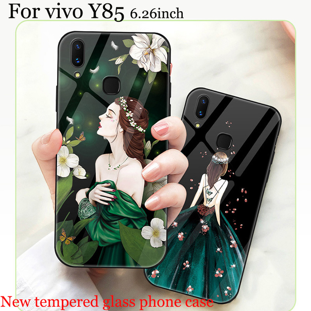 half off b2e0e 17500 US $11.38 8% OFF For vivo Y85 case girls tempered glass back cover For vivo  Y 85 Y85A case vivoY85 For vivo Y 85 A Y85 A Phone Cases cover capas-in ...