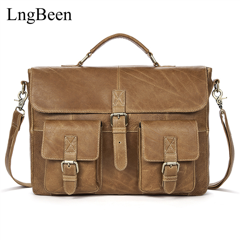 Lngbeen NEW Genuine Leather Brown Men Briefcase font b Laptop b font Business Bag Cowhide Men